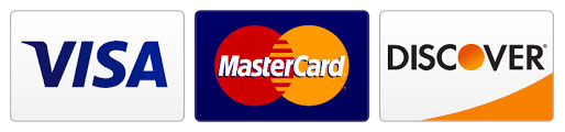 image of credit cards accepted: Visa, MasterCard & Discover